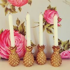 pineapple candle holders, I love pineapples so much need these!