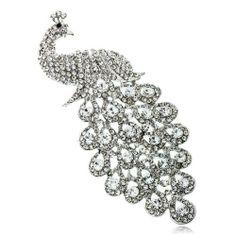 Arinna Chic Peacock Brooch Pin Swarovski Elements Clear Crystals Arinna. $23.98
