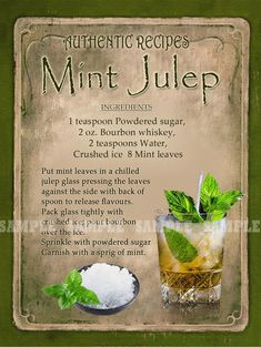 Mint Julep Cocktail - Adult Beverages I Wanna Try - Mint Liquor Drinks, Non Alcoholic Drinks, Cocktail Drinks, Beverages, Alcholic Drinks, Fancy Drinks, Summer Drinks, Alcohol Drink Recipes, Vegetable Drinks
