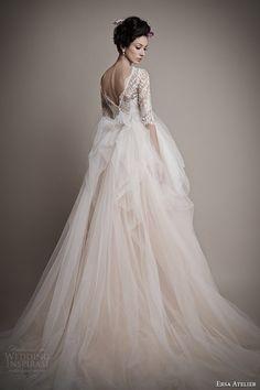 ersa atelier 2015 bridal amina pale pink wedding dress sleeves back view