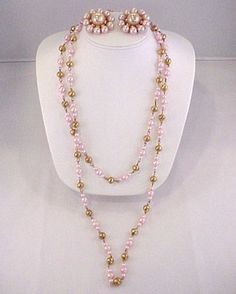 1950s Large Chunky Gum Ball Pink Faux Pearl Gold Tone Pins & Long Necklace Set  $16.95