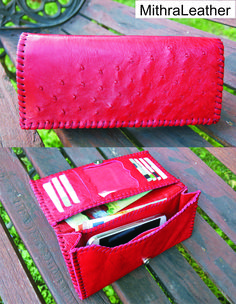 Genuine ostrich leather woman wallet
