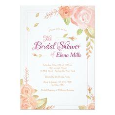#Floral Accents Bridal Shower Invitation - #weddinginvitations #wedding #invitations #party #card #cards #invitation #watercolor