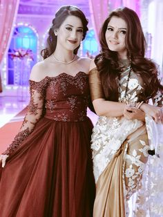 Rubina Dilaik and Alisha panwar Stylish Dresses For Girls, Girls Dresses, Formal Dresses, Indian Gowns Dresses, Stylish Sarees, Indian Celebrities, Indian Designer Wear, Beautiful Saree, Ball Gowns
