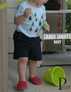 New Navy Cargo Shorts by Project Pomona (fit over all diapers comfortably- Cloth Too !!)
