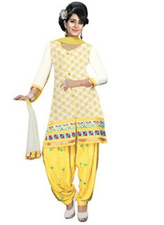 Justkartit Women's (and girls) Yellow & White Color Cotton Resham Embroidery Daily Wear Unstitched Low Price Patiala Salwar Kameez - http://weddingcollections.co.in/product/justkartit-womens-and-girls-yellow-white-color-cotton-resham-embroidery-daily-wear-unstitched-low-price-patiala-salwar-kameez/