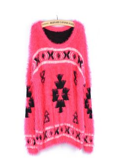Red Imitation Mohair folk style geometric totem Pullover Sweater
