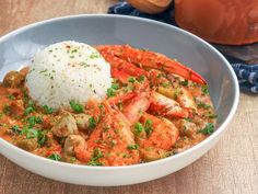 A Spectacular Seafood Gumbo With Okra and Stewed Tomatoes Seafood Gumbo Recipe With Shrimp and Crab Meat Cajun Recipes, Entree Recipes, Shrimp Recipes, Salmon Recipes, Cooking Recipes, Gumbo Recipes, Cajun Cooking, Cooking Fish, Healthy Recipes