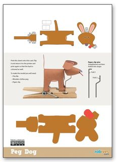 Peg Dog, Junk Automata for you to make. Members can download the template page for free from the link. Non-members can join in the fun for £2.50 or the USD / Euro equivalent (Choose your currency a…