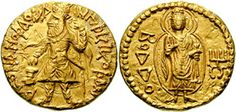 King Kanishka (Kushan Empire), 78-123, the [BSЭ pt. 11, p. 328].  Kushan coin with images of King Kanishka I and Buddha. Gold. Face Caption: King of Kings. Kanishka Kushan.  Back Caption: Buddha and monogram of KANISCO right