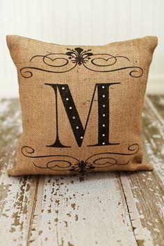 Custom Monogram Burlap Pillow Cover by MonMellDesigns on Etsy, $36.00