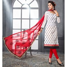 Chanderi Cotton Off White Churidar Suit Dress Material - 16521