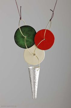 Andrea Wippermann - necklace, 2011, cast silver, enamelled steel, string - 160 x 90 x 30 mm, € 1140