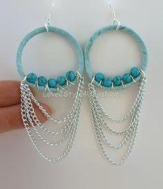 Turquoise Chandelier Earrings, Turquoise Boho Earrings, Turquoise Earrings, Waterfall Earrings, Chandelier Earrings, Dangle Earrings, Fringe
