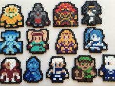 This Legend of Zelda Perler bead sprite set features thirteen (13) fighters from Hyrule Warriors: Darunia, Zant, Ganondorf, Midna, Ruto, Agitha,