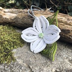 Handmade Quilled Paper Dogwood Ornament Window Decoration Flower Ornament Etsy Happy New Year 1st Wedding Anniversary Gift, Paper Anniversary, Flower Ornaments, Christmas Ornaments, Plant Wedding Favors, Paper Quilling, Quilling Flowers, Dogwood Flowers, Gold Paper