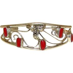 Native American Navajo Vintage Sterling Silver Mediterranean Coral Cuff Bracelet by Collectable Artist C. Yazzie