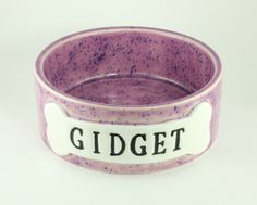 Personalized Dog Bowl Purple Speckled by CarolinaPetPottery