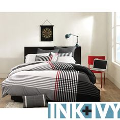 @Overstock.com - Ink and Ivy Blake 3-piece Comforter Set - Redecorate your bedroom with this contemporary comforter set from Ink and Ivy Blake. This set features woven fabric detailing and a distinctive plaid pattern. Hypoallergenic and made from 100 percent cotton, this set is also machine washable.   http://www.overstock.com/Bedding-Bath/Ink-and-Ivy-Blake-3-piece-Comforter-Set/8016404/product.html?CID=214117 $99.99