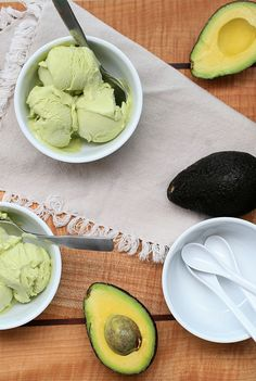 Avocado Ice Cream   Girl Cooks World flesh from 3 small to medium avocados * 2-3 Tablespoons freshly squeezed lime juice * 1-1/2 cups whole milk * 3/4 cup sugar * 1/4 cup sweetened condensed milk * 1 cup heavy cream
