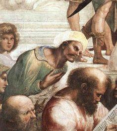 Raphaël Santi (ou Sanzio) (1483-1520) L'école d'Athènes dans la chambre de la signature, au Vatican. ici Averroes et Pythagore (1508-1511)