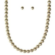 Pearl Earrings and Necklace Set - Cream
