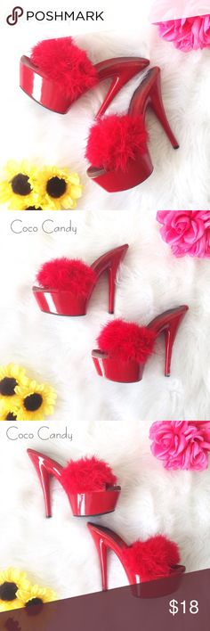 """⭐️SALE‼️Forever 21 Heels Forever 21 Heels✨  Size: 7✨  Gently Used✨  Color: Red✨  Super sexy Forever 21 heels. Features red feathers on the strap & a platform. Padded foot bed & a easy slide on style. As shown in photos above these heels do show signs of wear but not noticeable. Shoe box not included✨  Measurements: Platform 2"""" Heel 6""""  Buy now or submit a offer today✨  ⭐️No Trades ⭐No Modeling ⭐️Use The Button ⭐️15% Off 2 Or More Items ⭐️Free Gift With Every Order ⭐️Same Day / Next Day…"""