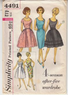 Vintage Simplicity 4491 Dress Skirt Variations Sewing Pattern Size 12 #Simplicity #1960sdress
