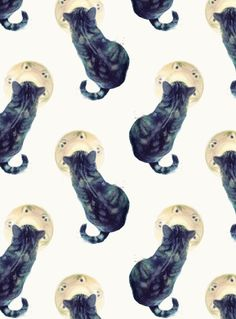 Kitten and Saucer (Pattern) Art Print