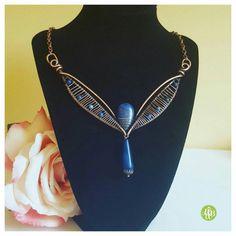 Wire art nouveau necklace, copper statement necklace blue, lapis lazuli jewelry handmade, lapis copper wire necklace, wire wrapped stone