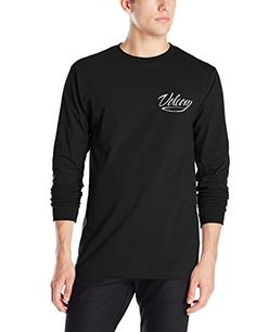 Volcom Mens Snake Script Long Sleeve T-Shirt, Black, Small