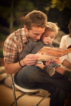 This is so precious!!! Daddy reading to his son.