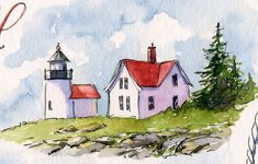Sketching Everyday Artist: Sketches from Maine: A Sailboat, Lighthouses, and More Rocky Coast Watercolor Landscape, Watercolor And Ink, Watercolor Paintings, Watercolours, Watercolor Sketchbook, Watercolor Illustration, Lighthouse Painting, Watercolor Pictures, Art Impressions