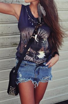 Destroyed shorts & feather earrings. just add a #sevenly muscle tank #outfits