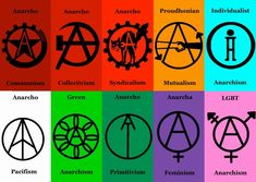 Anarchist Symbols by MyLittleTripod on DeviantArt Here's a series of minimalist symbols for various forms of Anarchism. Anarchist Tattoo, Acab Tattoo, Anarchy Symbol, Arte Punk, Riot Grrrl, Political Art, Philosophy, Lettering, Inspiration Tattoos