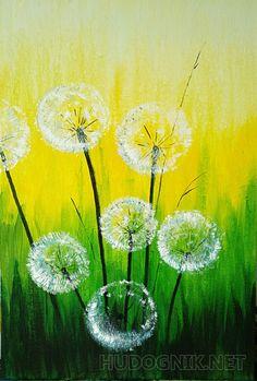 Spring Painting, Spring Art, Watercolor Flowers, Watercolor Paintings, Dandelion Painting, Fence Art, Diy Art, Flower Art, Art Projects