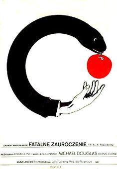 Original Polish poster for Fatal Attraction by artist Maciej Kalkus.