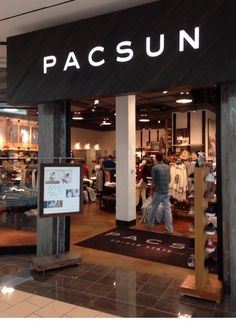"Pacific Sunwear / PACSUN: Location: Stonebriar Center in Frisco, TX. Store updated in early 2014 using elements of the ""Golden State of Mind"" branding and aesthetic campaign; most notably on the storefront exterior where all-caps ""PACSUN"" (seems like the surname of some up and coming designer) and doesn't evoke thoughts of the beach like ""Pac Sun"" did in the late '90's."