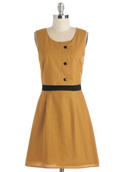 What You're Mead Of Dress. Hock your honeyed bottles at the local fair in this gorgeous, golden-yellow dress. #gold #prom #modcloth