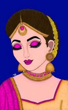 Girly Drawings, Art Drawings For Kids, Art Drawings Sketches Simple, Pop Art Images, Cute Couple Art, Art Drawings Beautiful, Indian Folk Art, Indian Art Paintings, Drawing Pictures