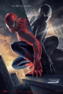 """The theatrical poster for Sam Raimi's """"Spider-Man 3"""" (2007).  The slogan is """"The Battle Within.""""  Depicted on the poster is Spider-Man mirrored with the venom symbiotic. The movie is not marketed as the image of your friendly neighbourhood Spider-Man.  Instead it depicts the internal struggle in Spider-Man.  Spider-Man is a hero crafted from pain and the black suit acts as a manifestation of his pain taking over him."""