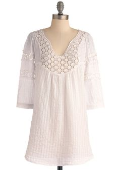 Houseboat Tunic in White - Long, White, Solid, 3/4 Sleeve, Lace, Casual, Summer, Cotton, White, 3/4 Sleeve, Boho, Festival, Spring