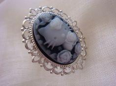 black hello kitty cameo ring