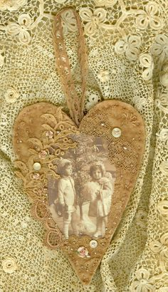 Victorian Christmas Children Vintage Lace Collage Heart Ornament