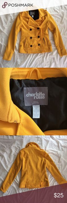 ❤️ mustard corduroy pea coat jacket Waist-length mustard yellow pea coat from Charlotte Russe in excellent condition. No rips, stains, or holes ❤️ Charlotte Russe Jackets & Coats Pea Coats