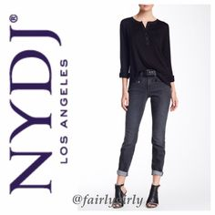 "NYDJ Ami Super Stretch Skinny Jeans (Petite) Comfy jeans with a stretchy, leg-hugging fit that are designed to flatter with exclusive lift-tuck technology to flatten the tummy and lift the rear. A slightly faded charcoal wash ""dresden,"" and faux zip pockets add some attitude. Zip fly with button closure, belt loops, and back patch pockets.  Approximately 13.5"" across the waistband, laid flat. Approximately 10"" front rise, 12.5"" back rise, 28"" inseam, and 5"" leg opening, laid flat.  80%…"