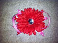 Valentine's Day Flower Bow by TutusNBows4u on Etsy, $5.00