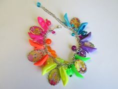 Cameo  Bracelet, Vintage 80's Barbie ART  with Neon colored Barbie Shoes /  ITEM 3513