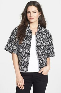 Mod: black & white Chaus Geometric Jacquard Jacket available at #Nordstrom