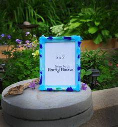 Beach Picture Frame/Blue Frame/5x7/Blue 5x7/Beach 5x7/Beach Decor/Tumbled Glass/Ocean Frame/Seashell Frame/Beach Glass/Sea Glass/Blue Glass by Designsbymartymouse on Etsy
